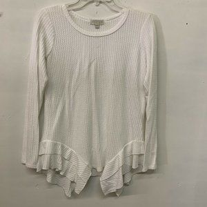 Status by Chenault Womens White Waffle Knit Tiered Hem Blouse